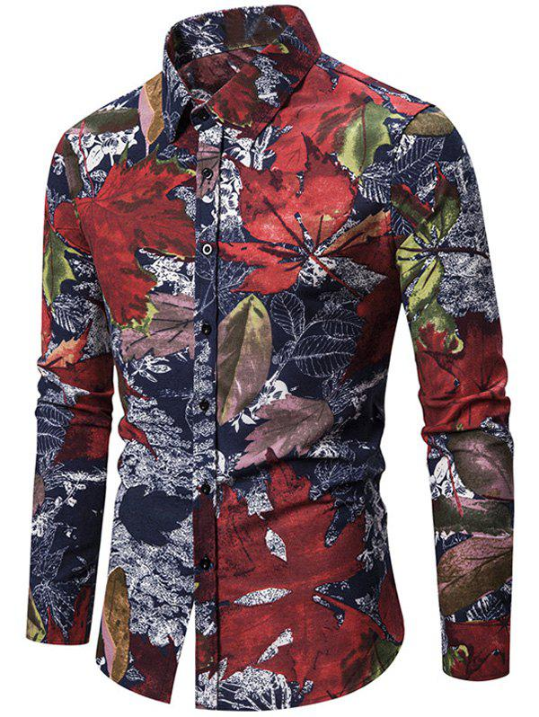 Maple Leaf Floral Print Slim Fit Button Casual Shirt - CHERRY RED 2XL