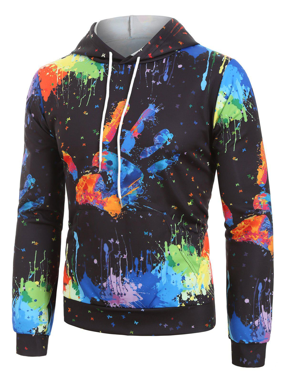 Splatter Paint Hand Graphic Front Pocket Drawstring Hoodie - multicolor XS