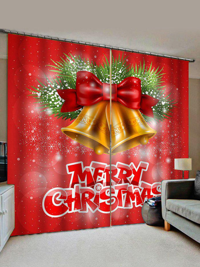 2 Panels Christmas Bell Letter Print Window Curtains - multicolor W30 X L65 INCH X 2PCS
