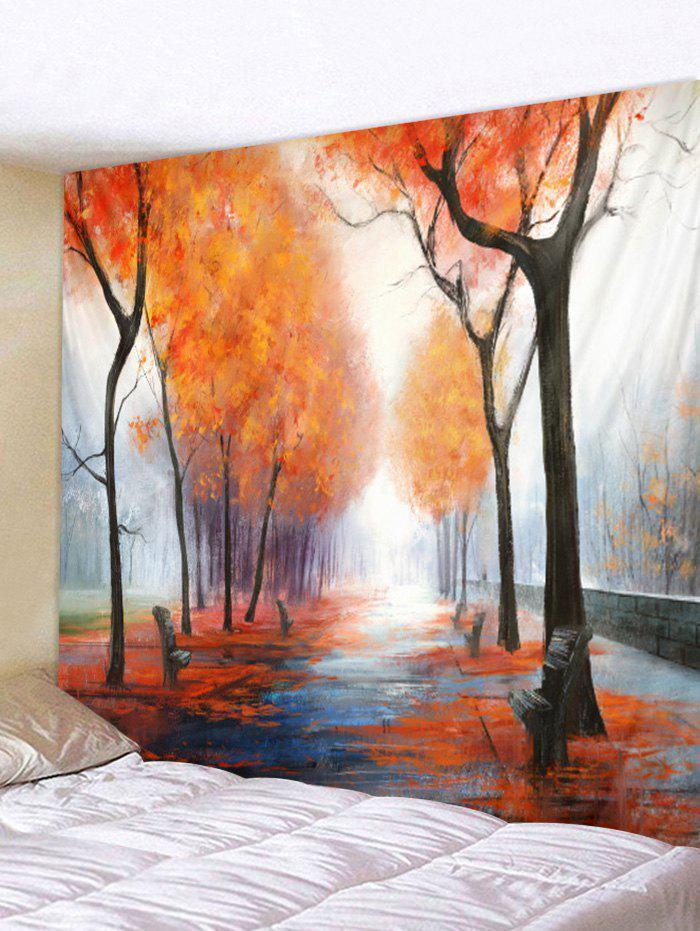 Autumn Woods Pattern Tapestry - multicolor B W79 X L71 INCH