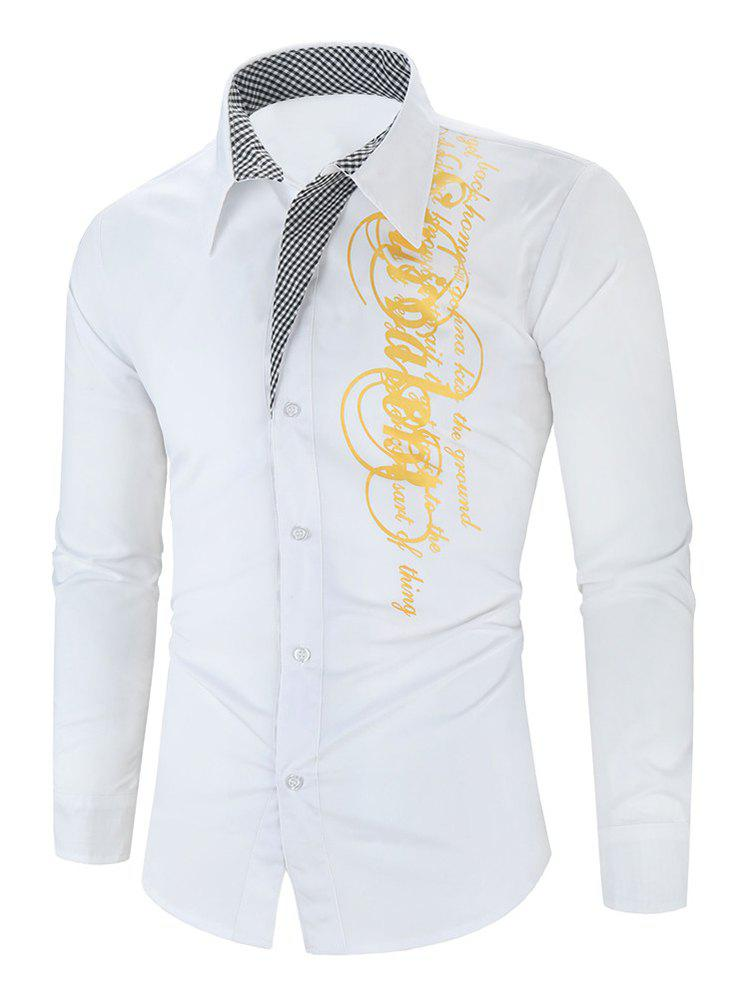 Letter Graphic Grid Print Button Long Sleeve Shirt - WHITE M