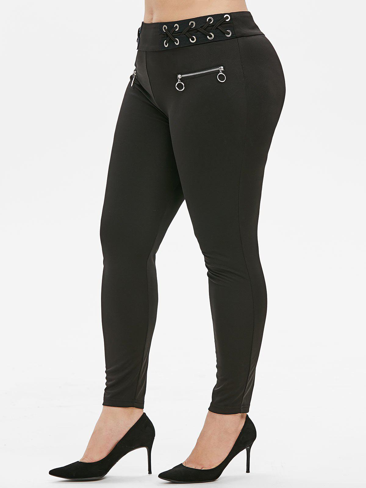 Plus Size Grommets Criss Cross Zippers Pants - BLACK L