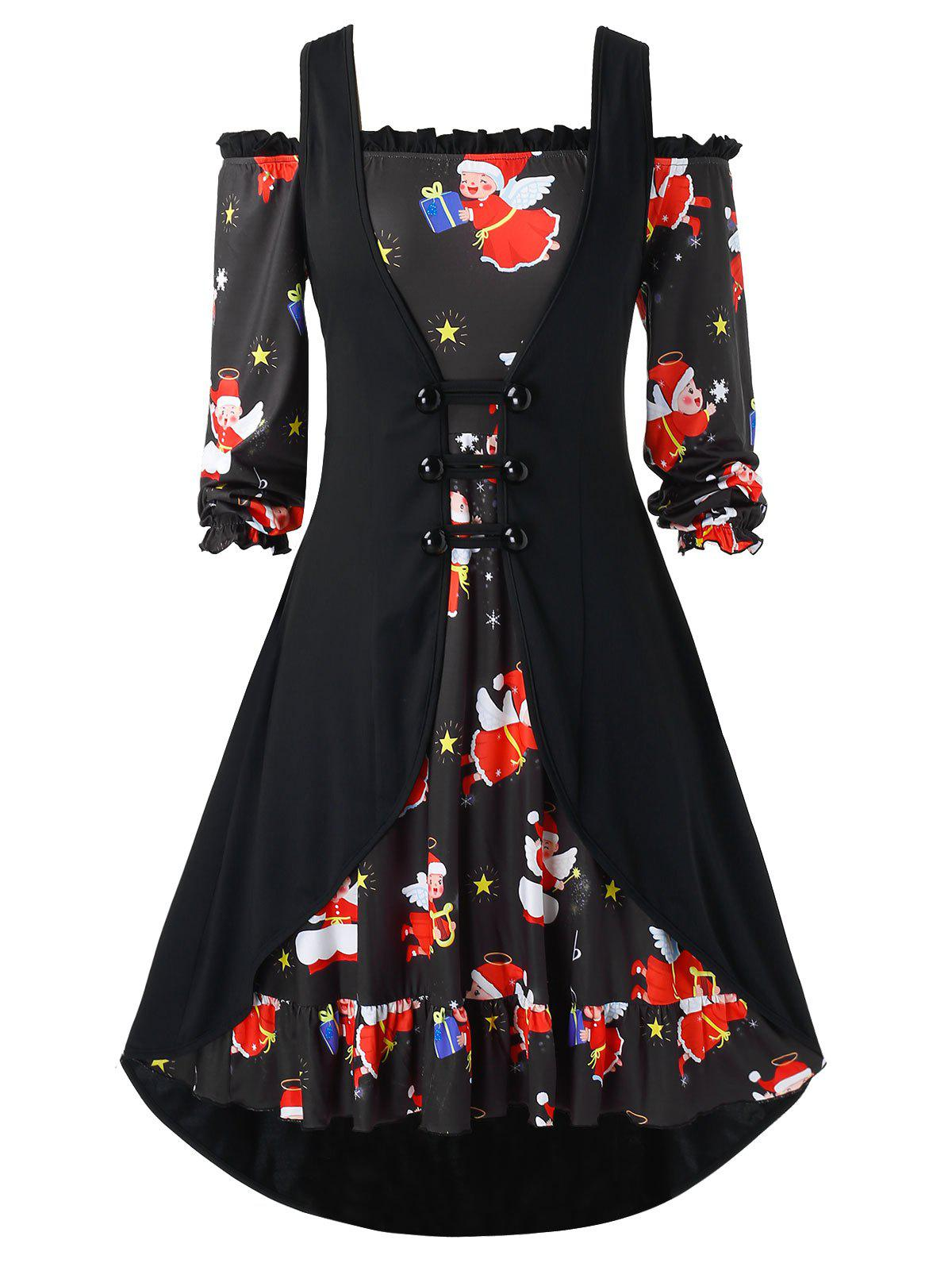 Plus Size Christmas Print Off The Shoulder Dress with Vest - BLACK 4X