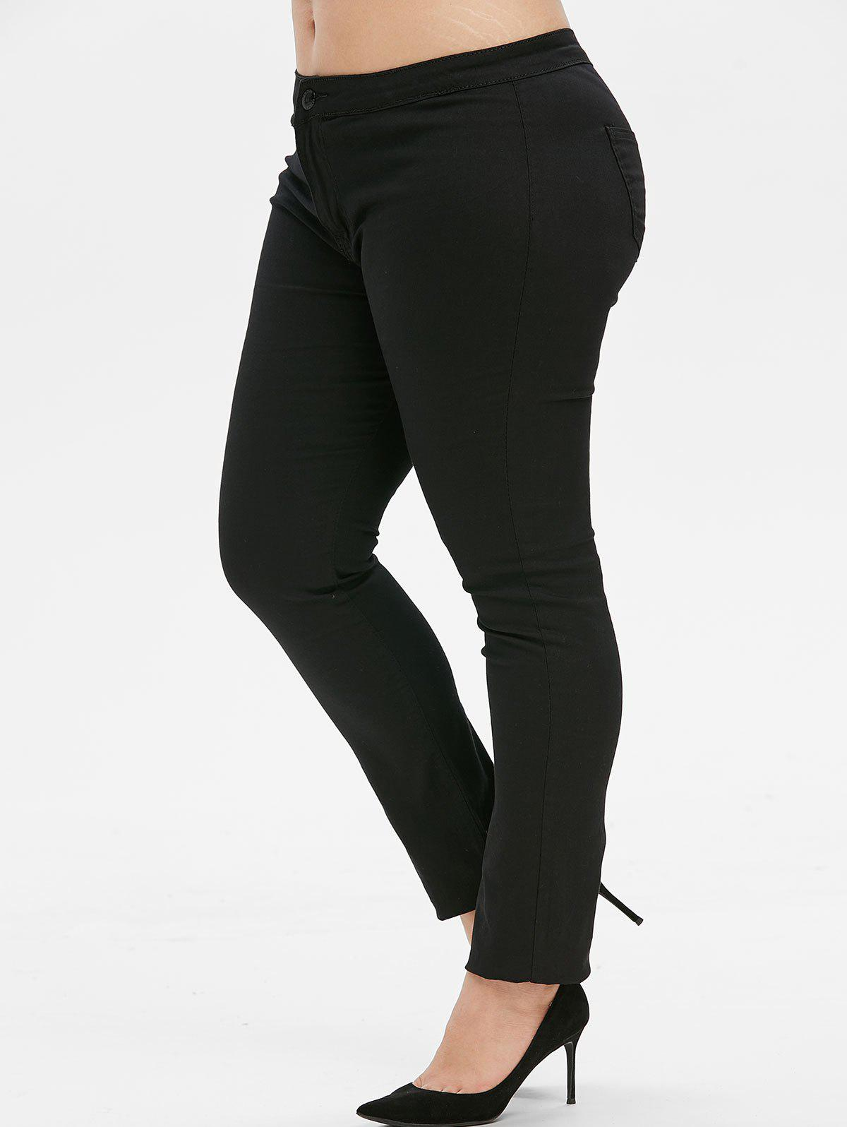 Mid Rise Solid Plus Size Skinny Pants - BLACK 4X