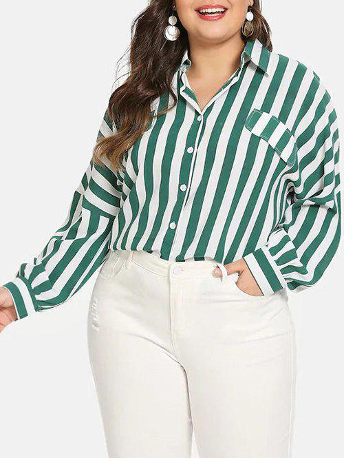 Button Down Stripes Faux Flap Pockets Plus Size Shirt - MEDIUM AQUAMARINE 3X