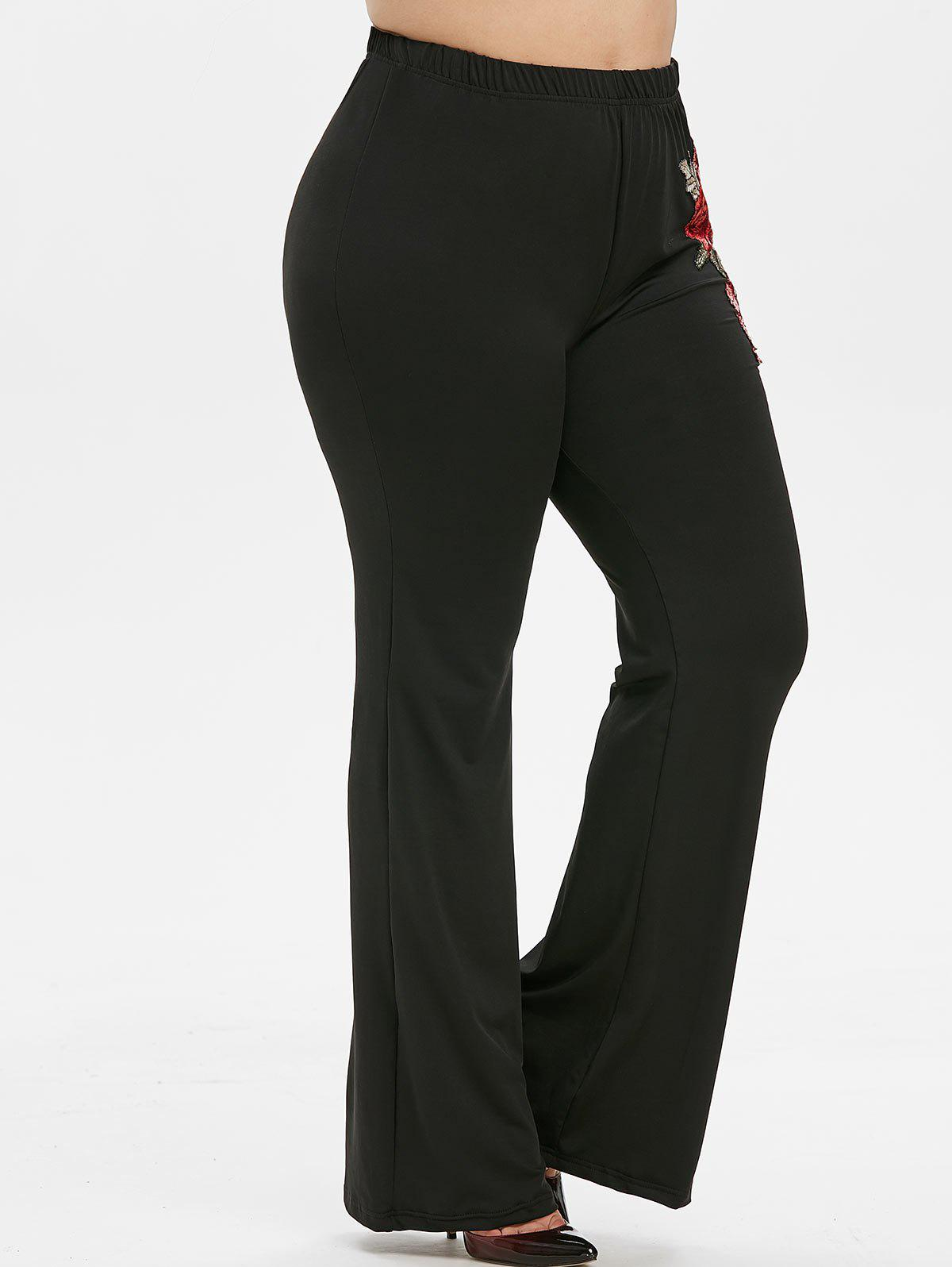 Plus Size Embroidered Flare Pants - BLACK 2X
