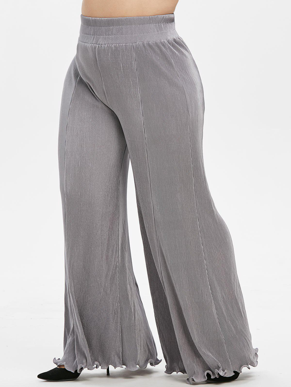 Plus Size High Rise Pleated Wide Leg Flare Pants - GRAY GOOSE 1X