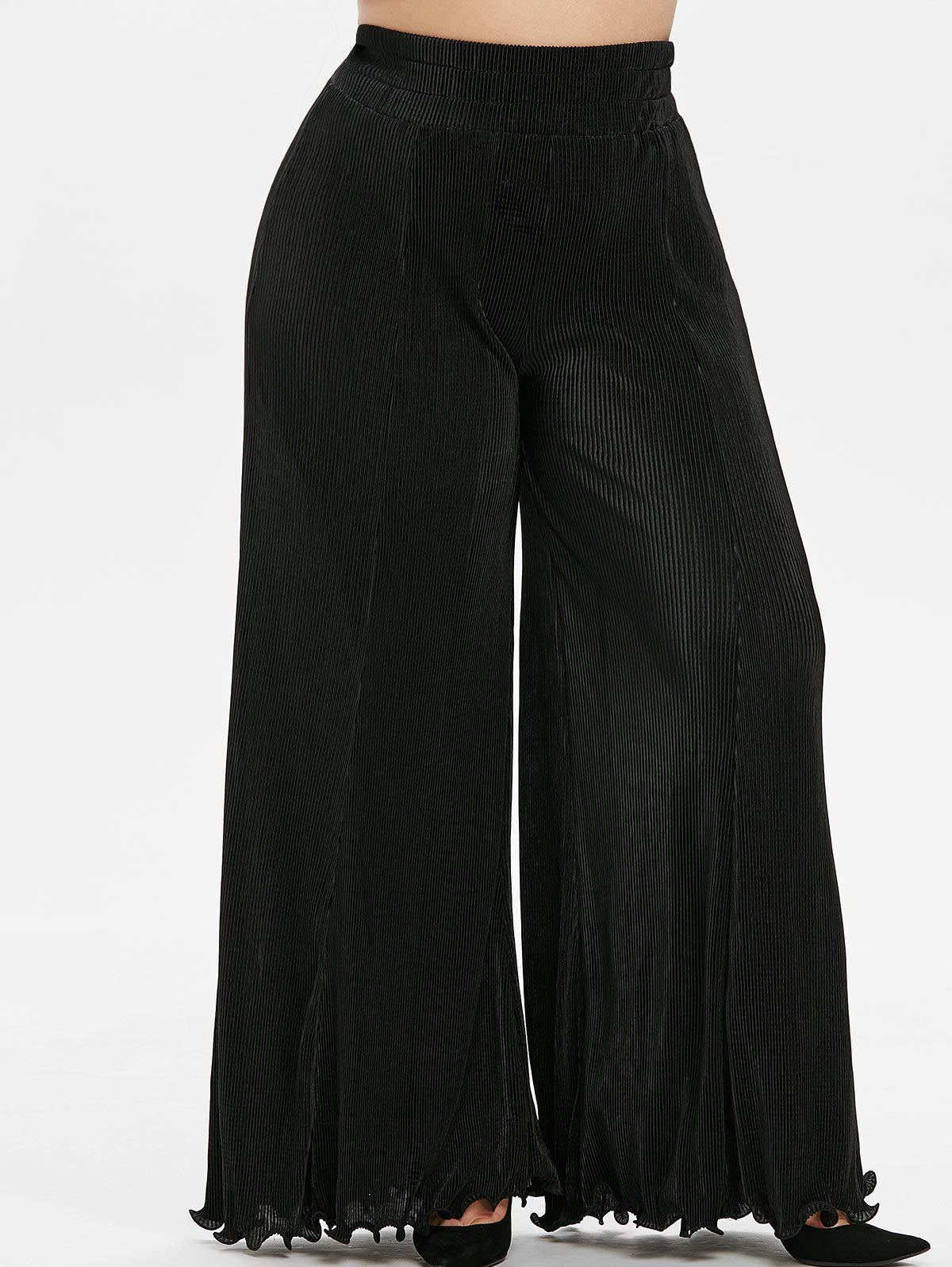 Plus Size High Rise Pleated Wide Leg Flare Pants - BLACK 5X
