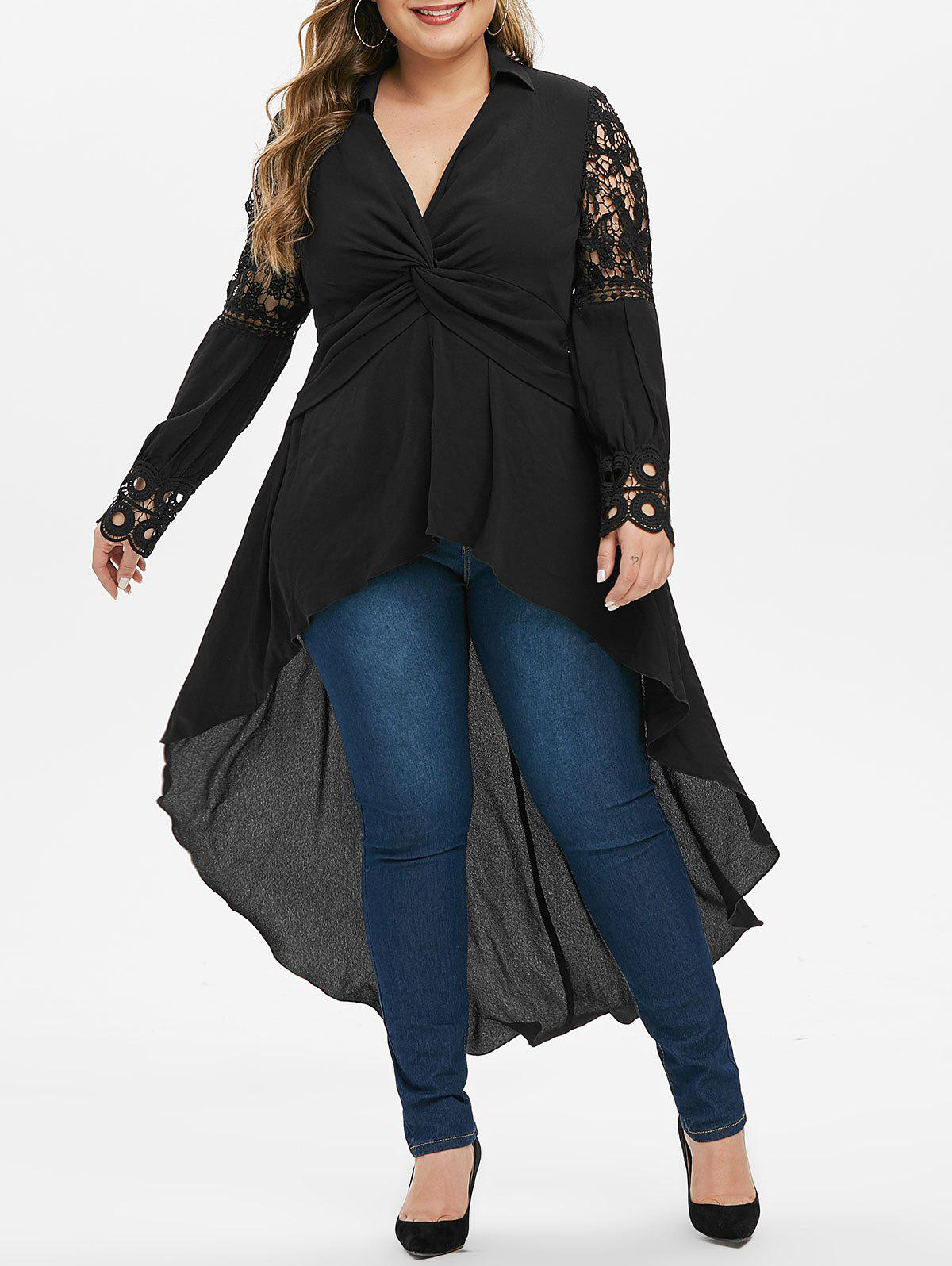 Plus Size Front Twist High Low Blouse - BLACK 4X