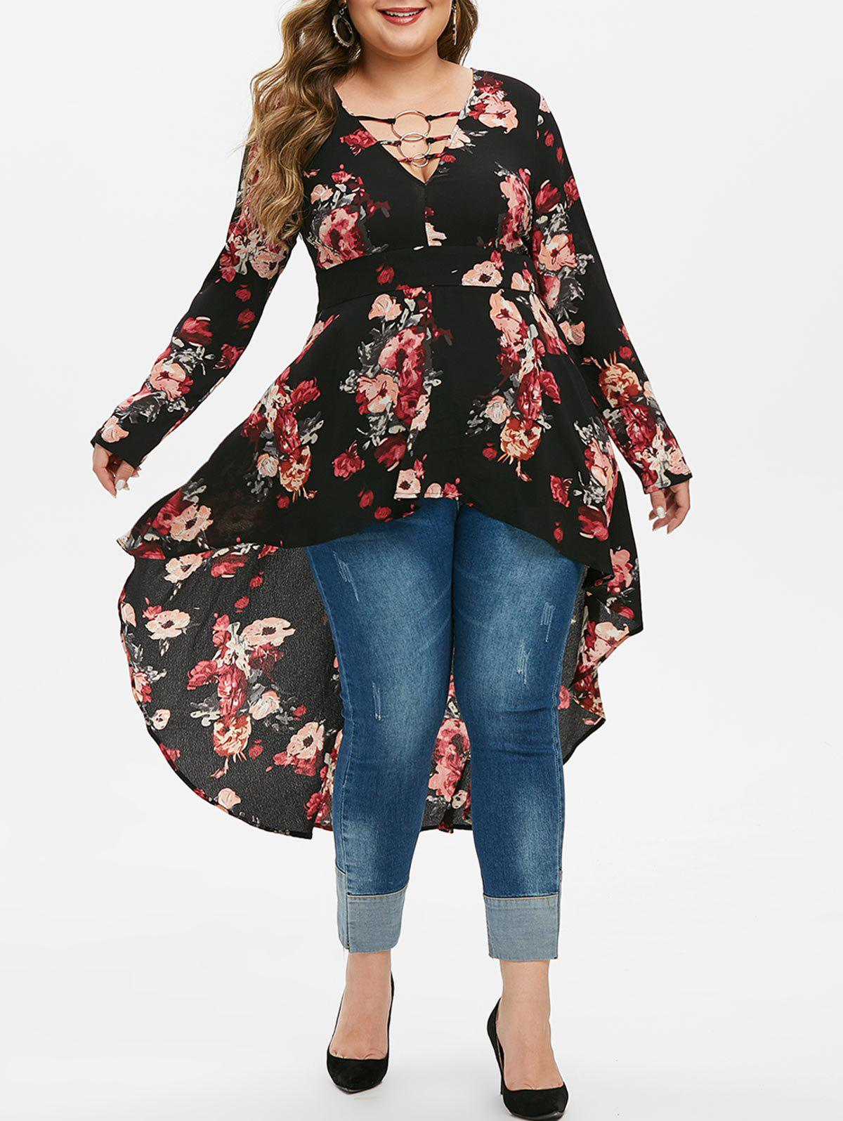 Plus Size O Rings Floral Print High Low Blouse - BLACK L