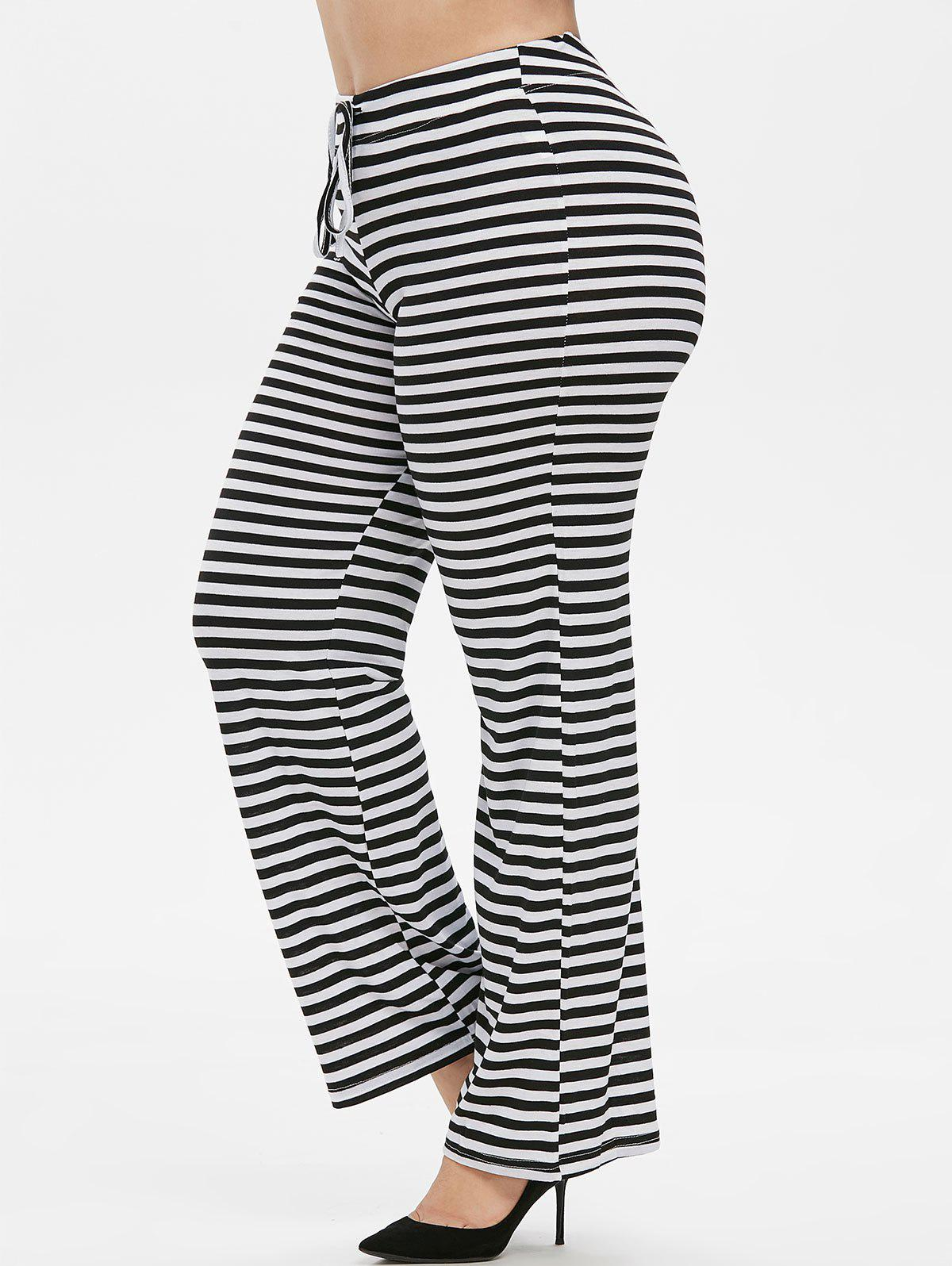 Plus Size Striped Drawstring Wide Leg Pants - multicolor 4X