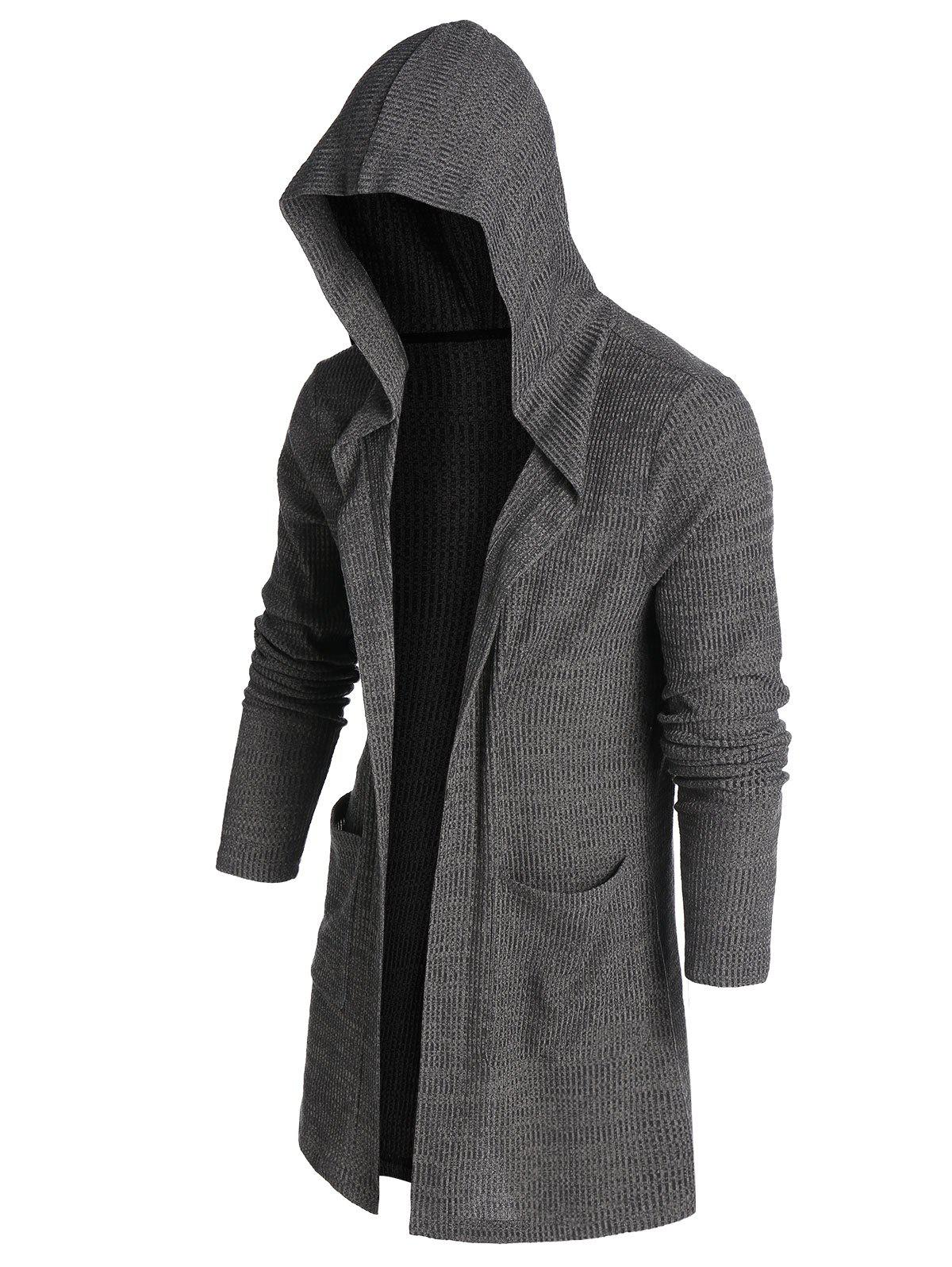 Hooded Double Pocket Open Front Ribbed Cardigan - ASH GRAY L
