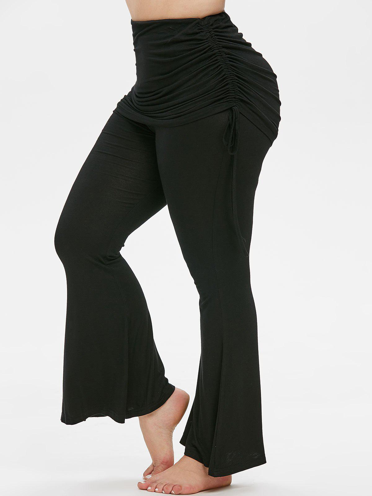 Plus Size Cinched Overlay Bell Bottom Pants - BLACK 5X