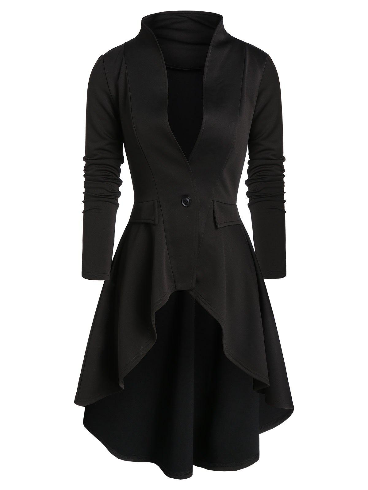 One Button Faux Pockets High Low Skirted Coat - BLACK 2XL