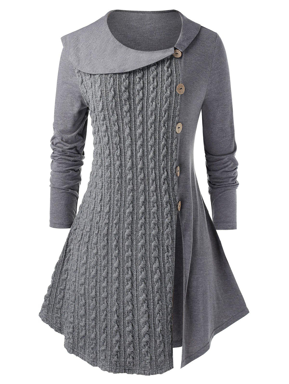 Plus Size Mock Buttons Slit Marled Cable Knit Top - GRAY 2X
