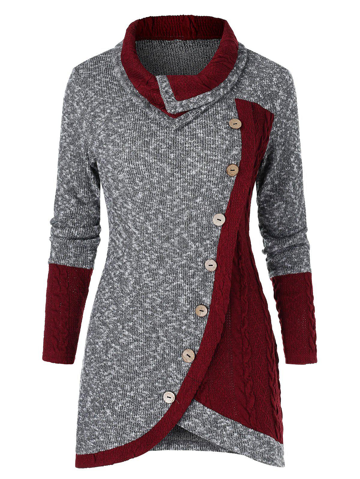 Contrast Tunic Turn-down Collar Sweater - multicolor A L
