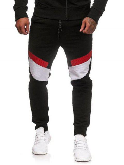 Color Blocking Sport Drawstring Jogger Pants - BLACK L