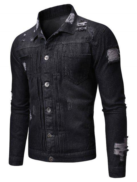 Distressed Light Wash Button Up Denim Jacket - BLACK 2XL