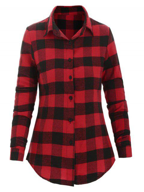 Plaid Fitted Shirt - RED WINE 2XL