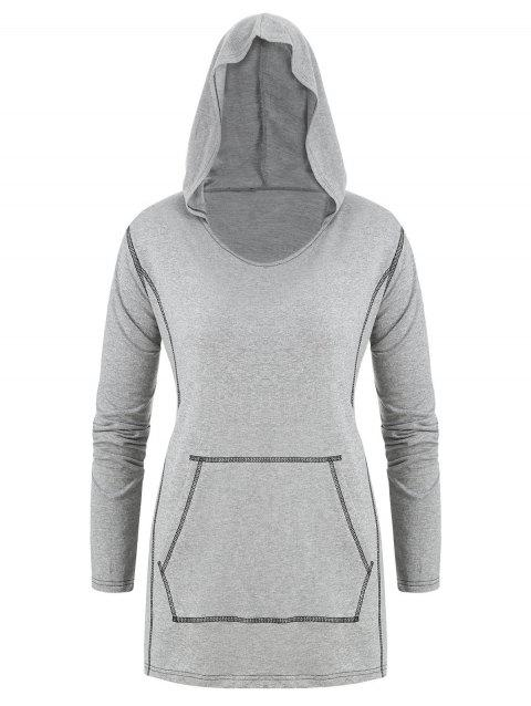 Plus Size Stitching Front Pocket Hoodie