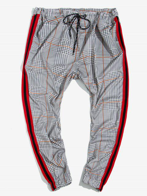 Houndstooth Print Contrast Striped Jogger Pants
