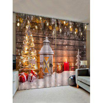 2 Panels Christmas Tree Wooden Board Print Window Curtains