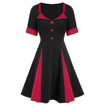 Two Tone A Line Scoop Collar Dress