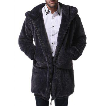Plain Faux Fur Zip Up Hooded Longline Coat