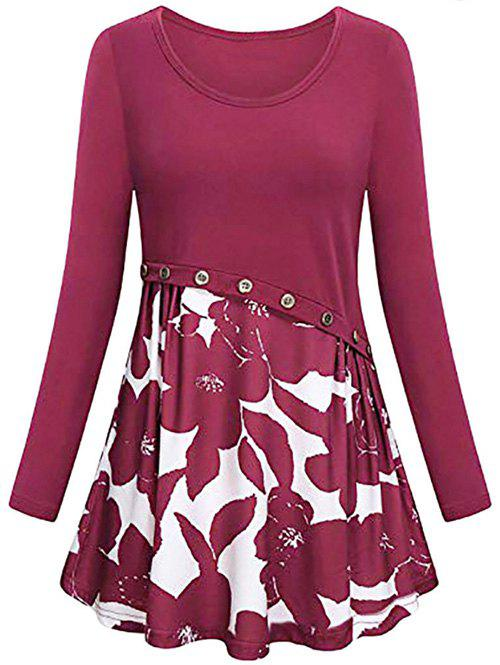 Flower Print Button Embellished Mini Dress - RED WINE L