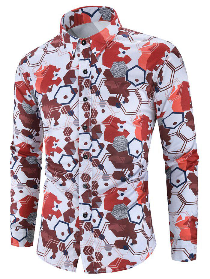 Geometric Graphic Print Slim Fit Long Sleeve Button Shirt - multicolor 3XL