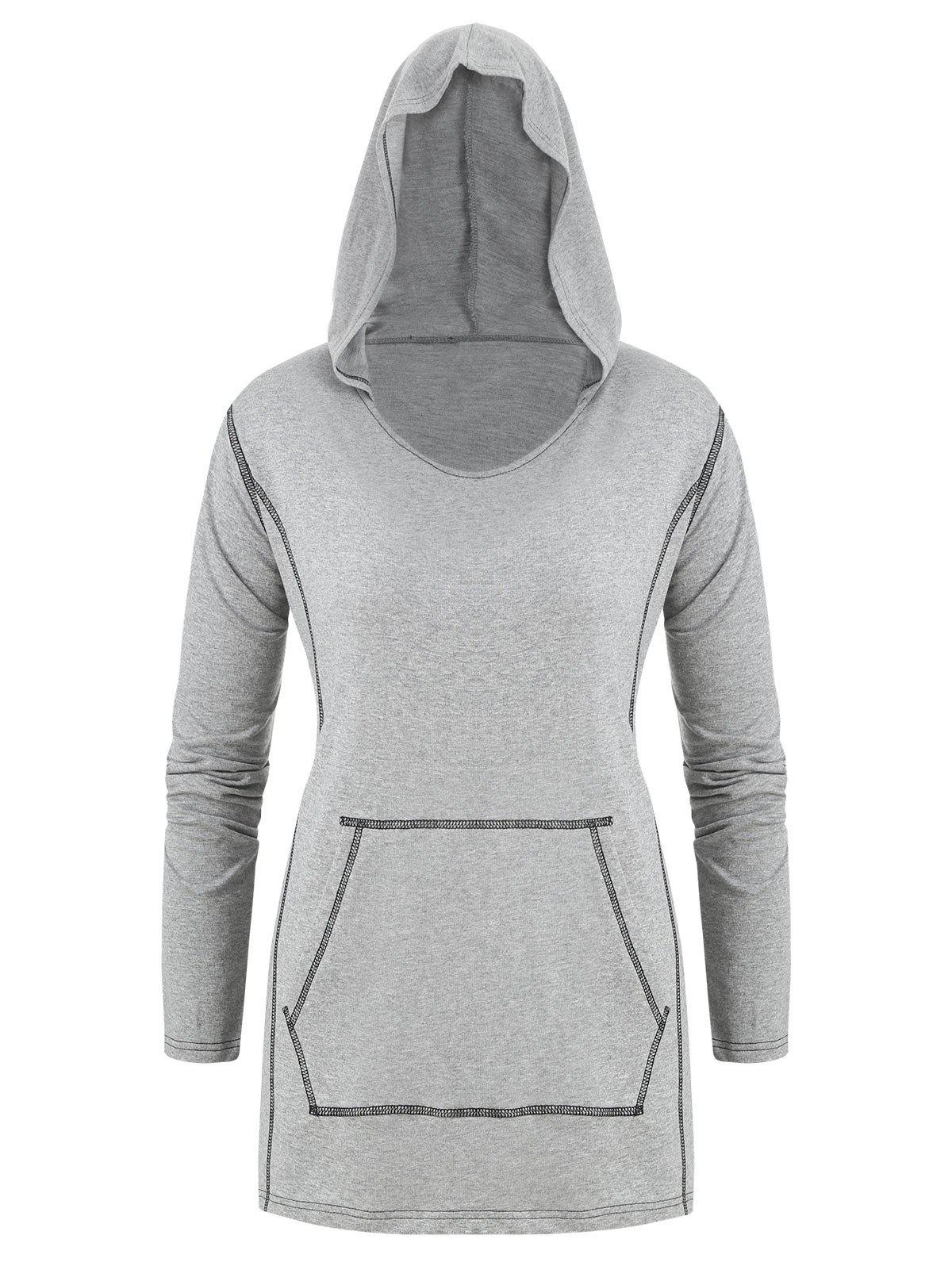 Plus Size Stitching Front Pocket Hoodie - GRAY L