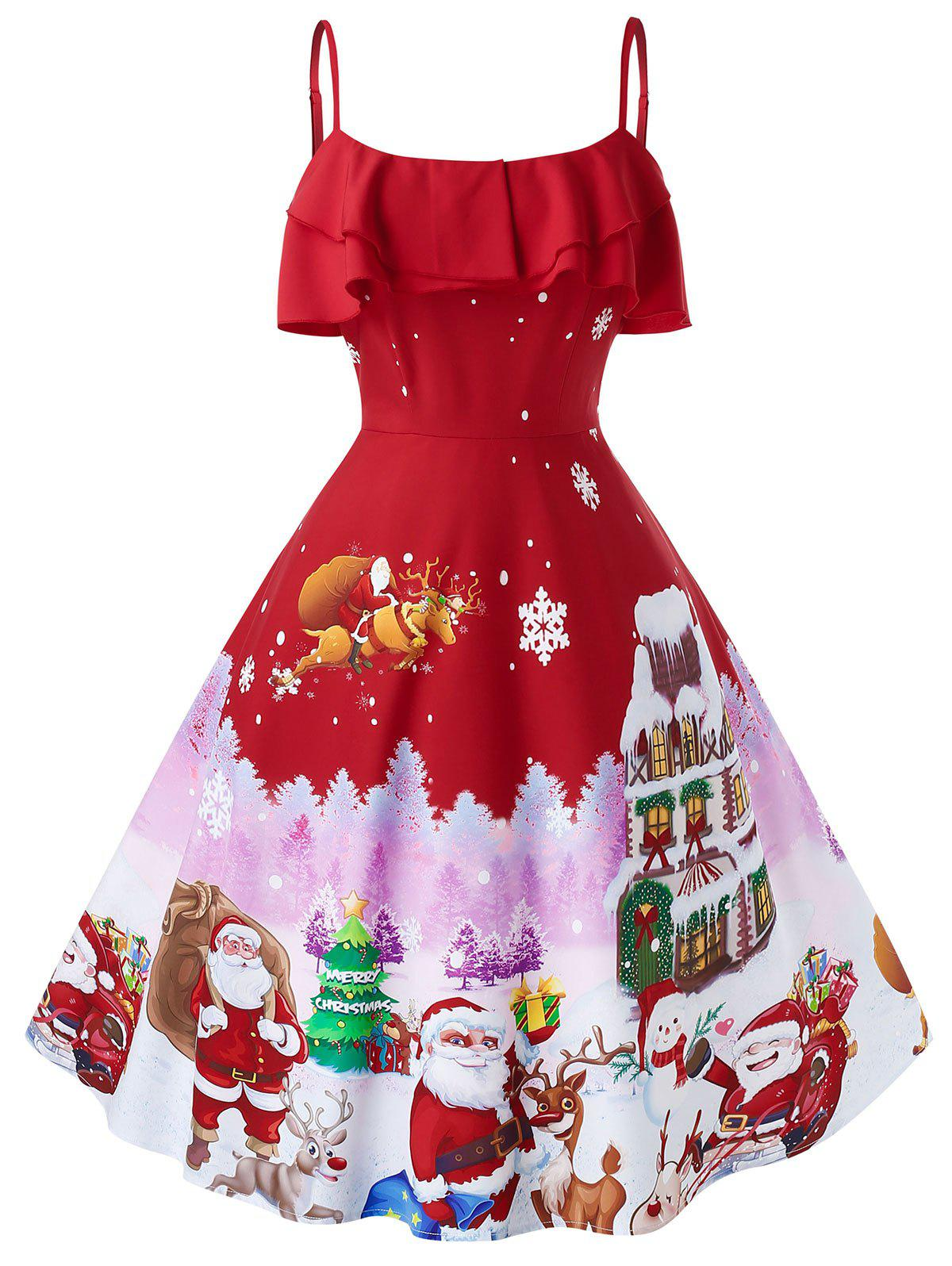 Plus Size Christmas Vintage Printed Pin Up Dress - RED 2X