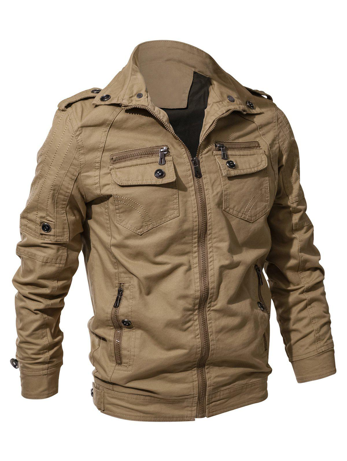 Multi Zip Pockets Zip Up Cargo Jacket - LIGHT KHAKI 2XL
