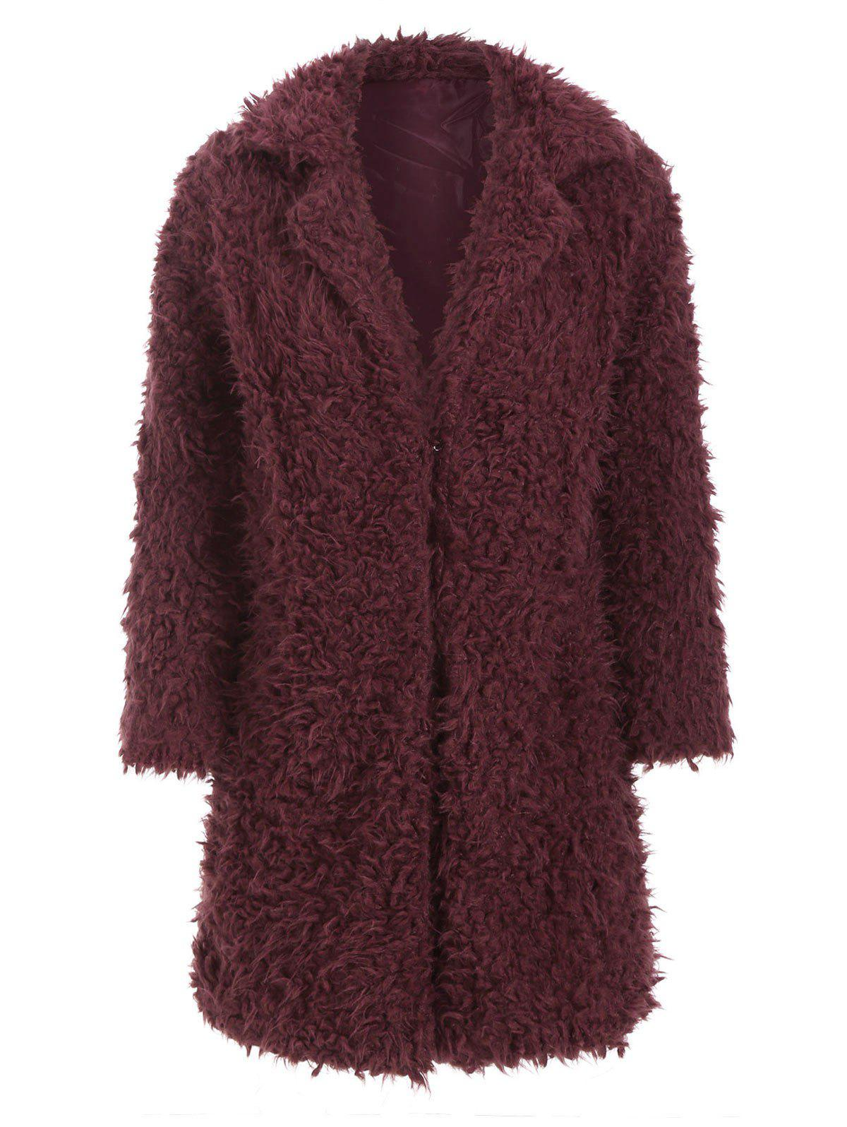 Hook-and-eye Faux Shearling Coat - RED WINE M