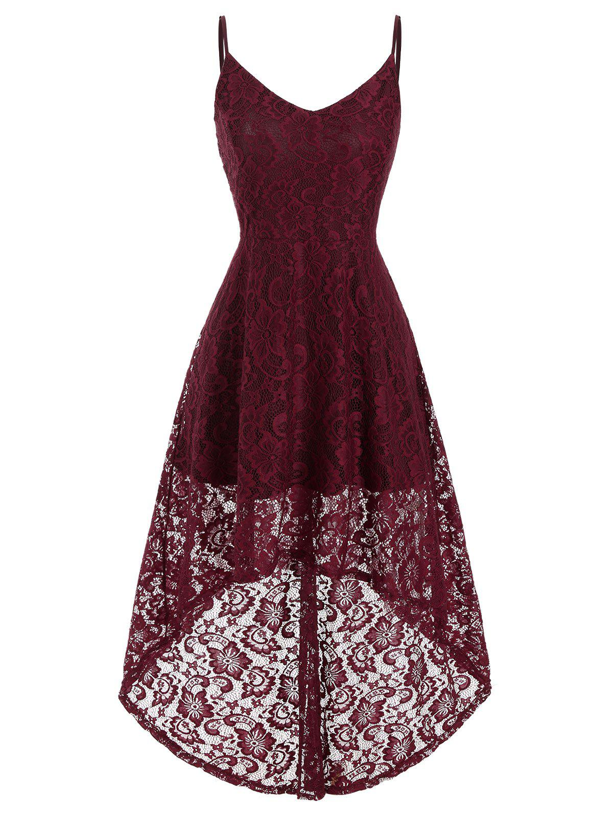 Plus Size High Low Lace Party Dress - RED WINE 1X