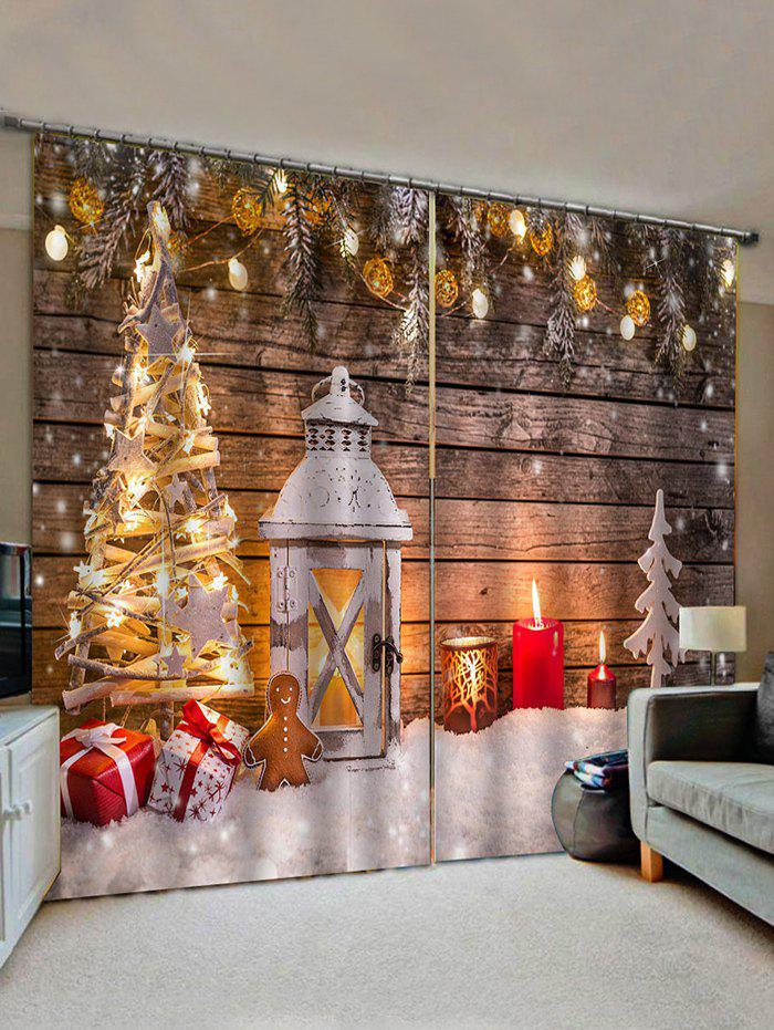 2 Panels Christmas Tree Wooden Board Print Window Curtains - multicolor W28 X L39 INCH X 2PCS