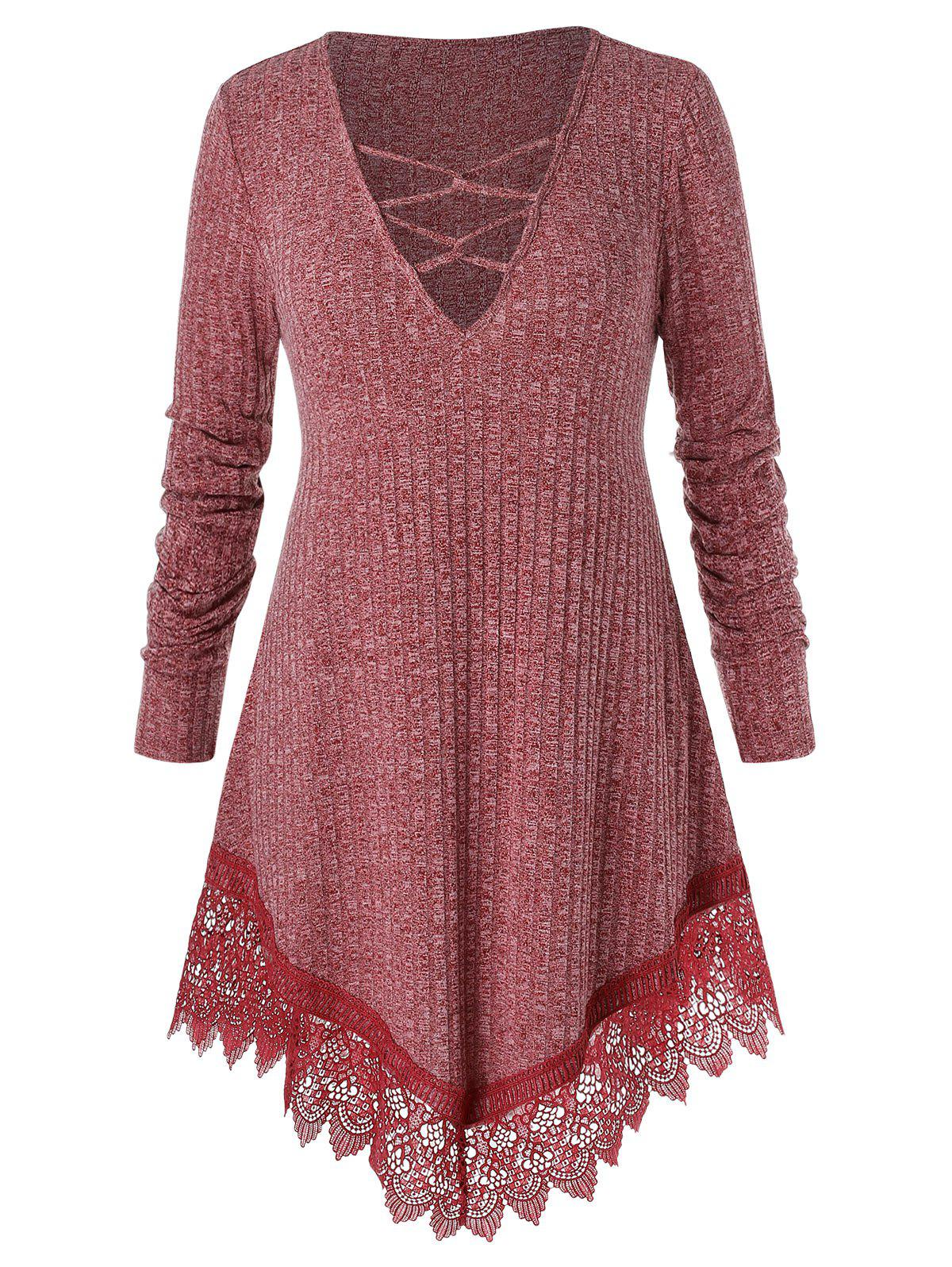 Plus Size Criss Cross Lace Panel Tunic Sweater - CHERRY RED L