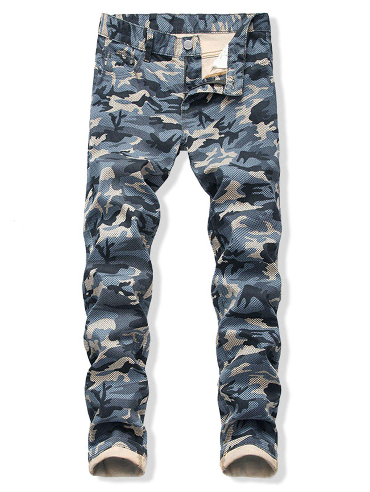 Camo Printed Zip Fly Cuffed Jeans - BLUE 40