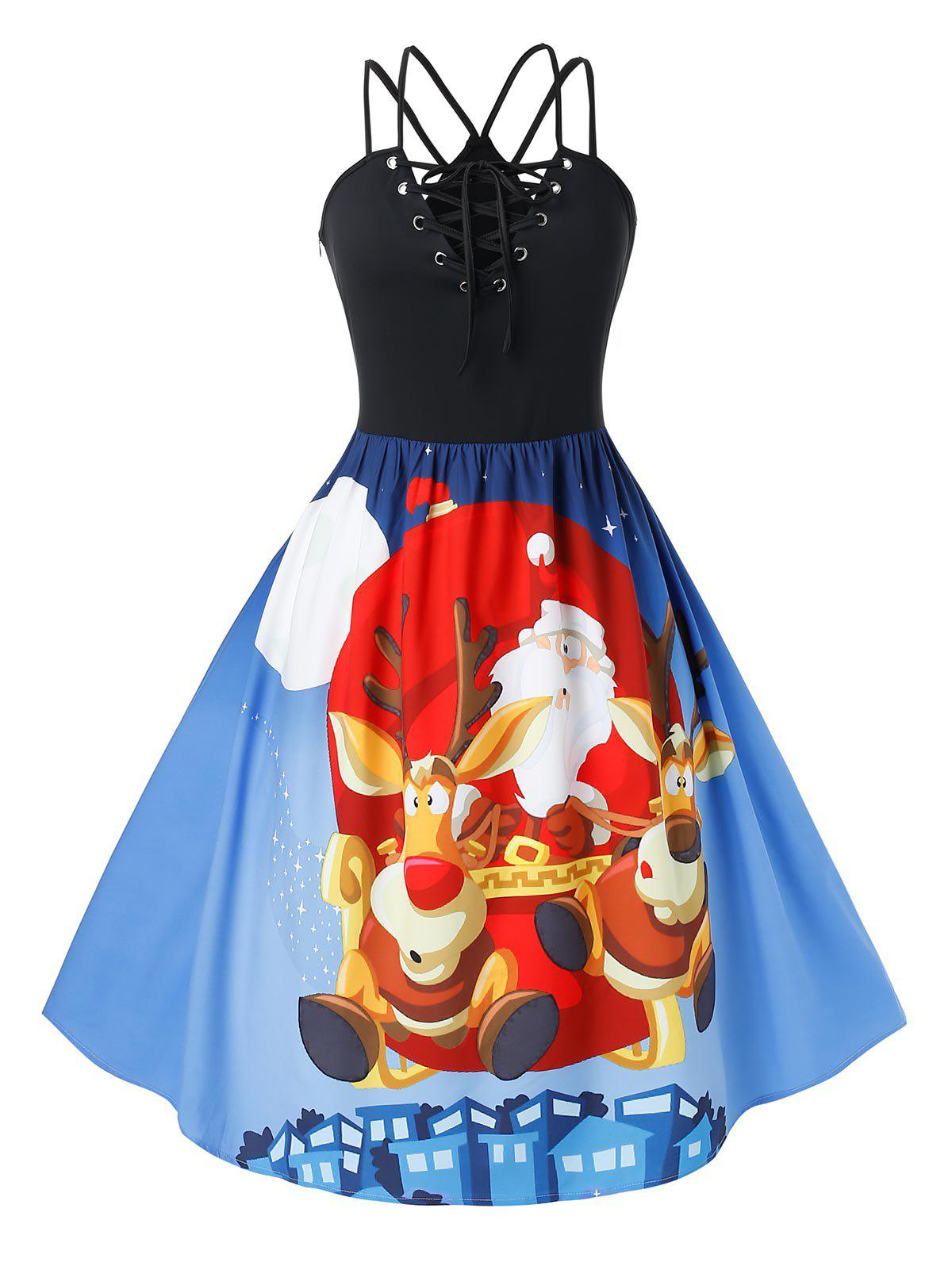 Plus Size Lace Up Santa Claus Elk Print Christmas Dress - DODGER BLUE 5X