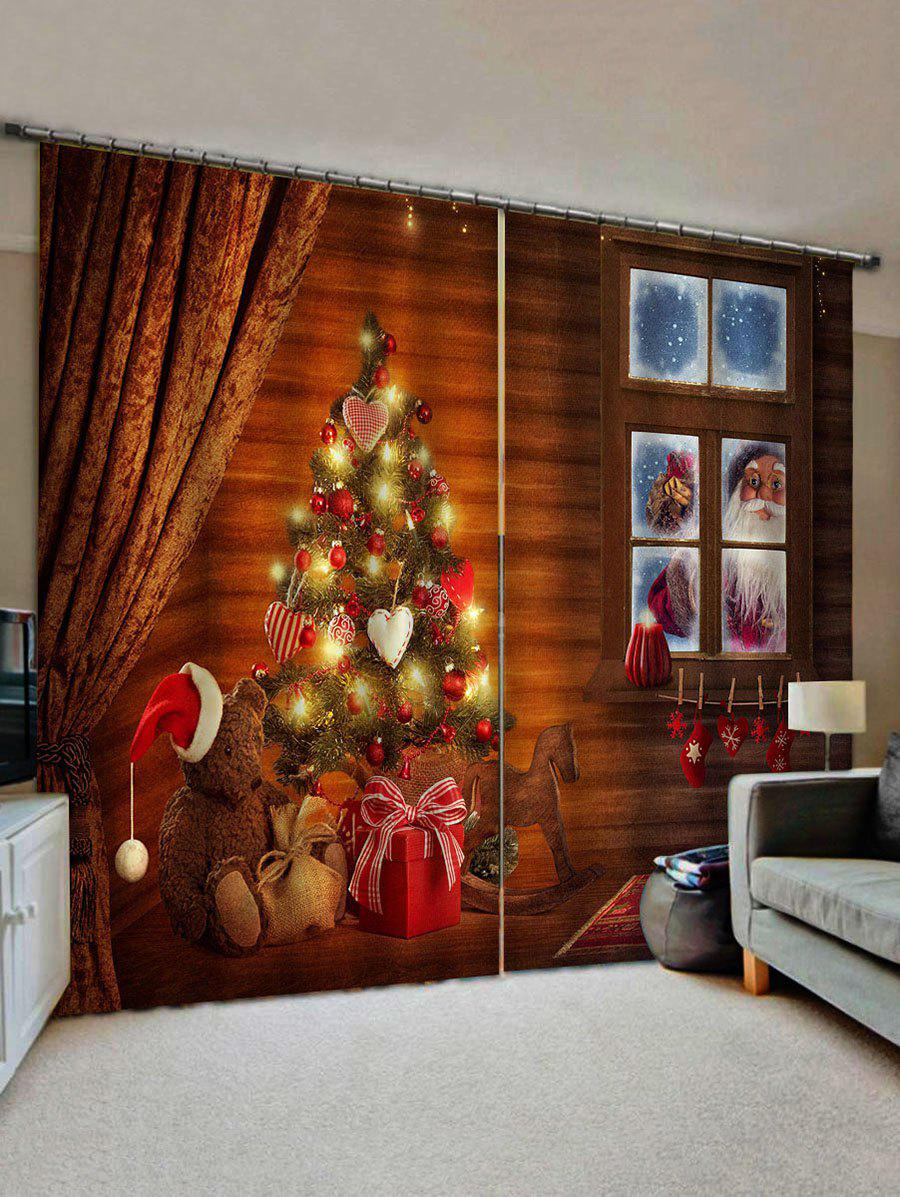 Christmas Tree Santa Claus Pattern Window Curtains - multicolor W28 X L39 INCH X 2PCS