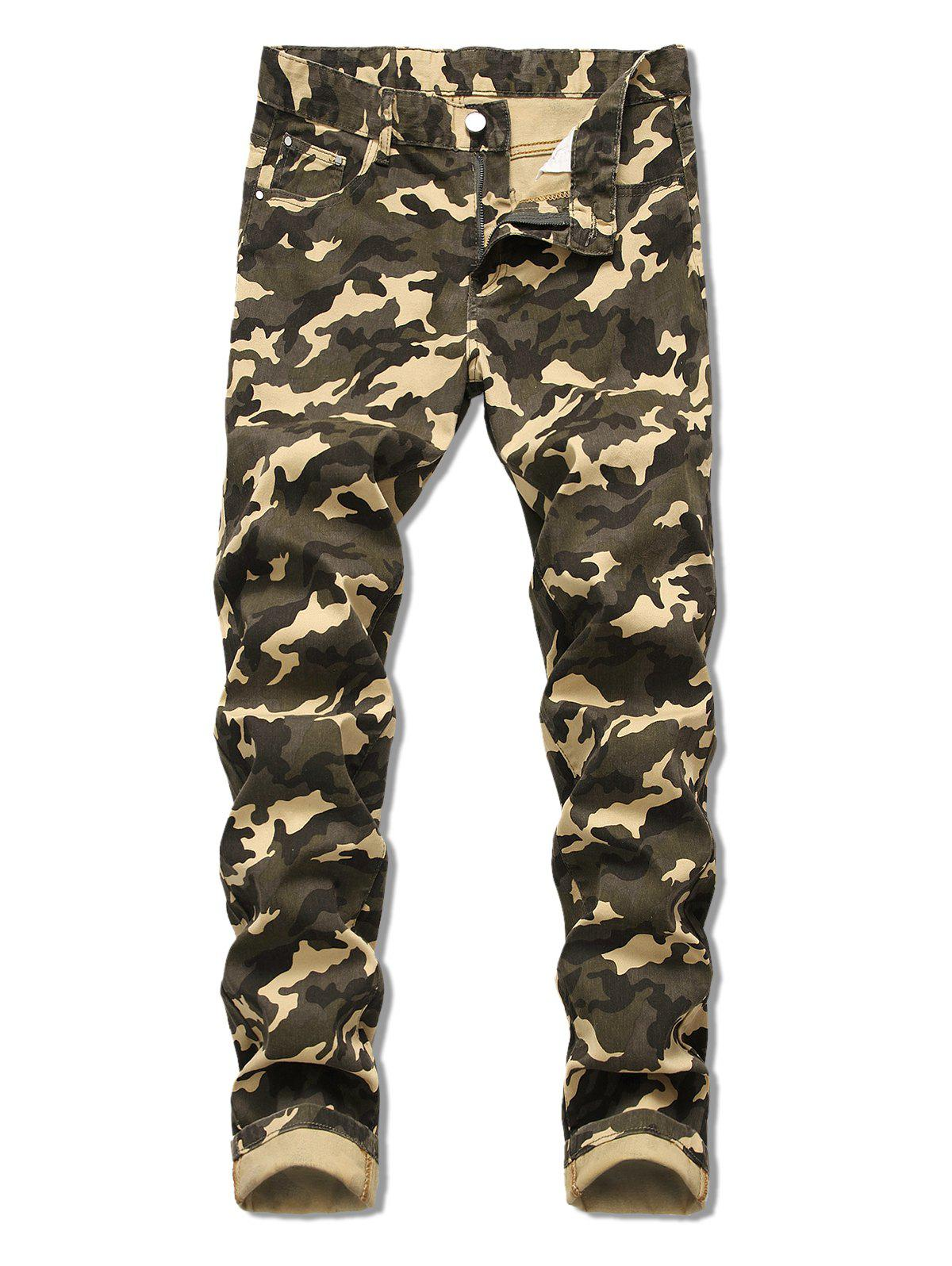 Camo Pattern Zip Fly Casual Jeans - ARMY GREEN 34