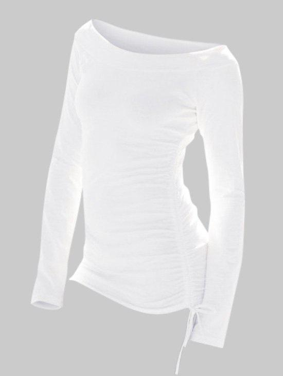 Plus Size Solid Cinched Tunic T Shirt - MILK WHITE 3X