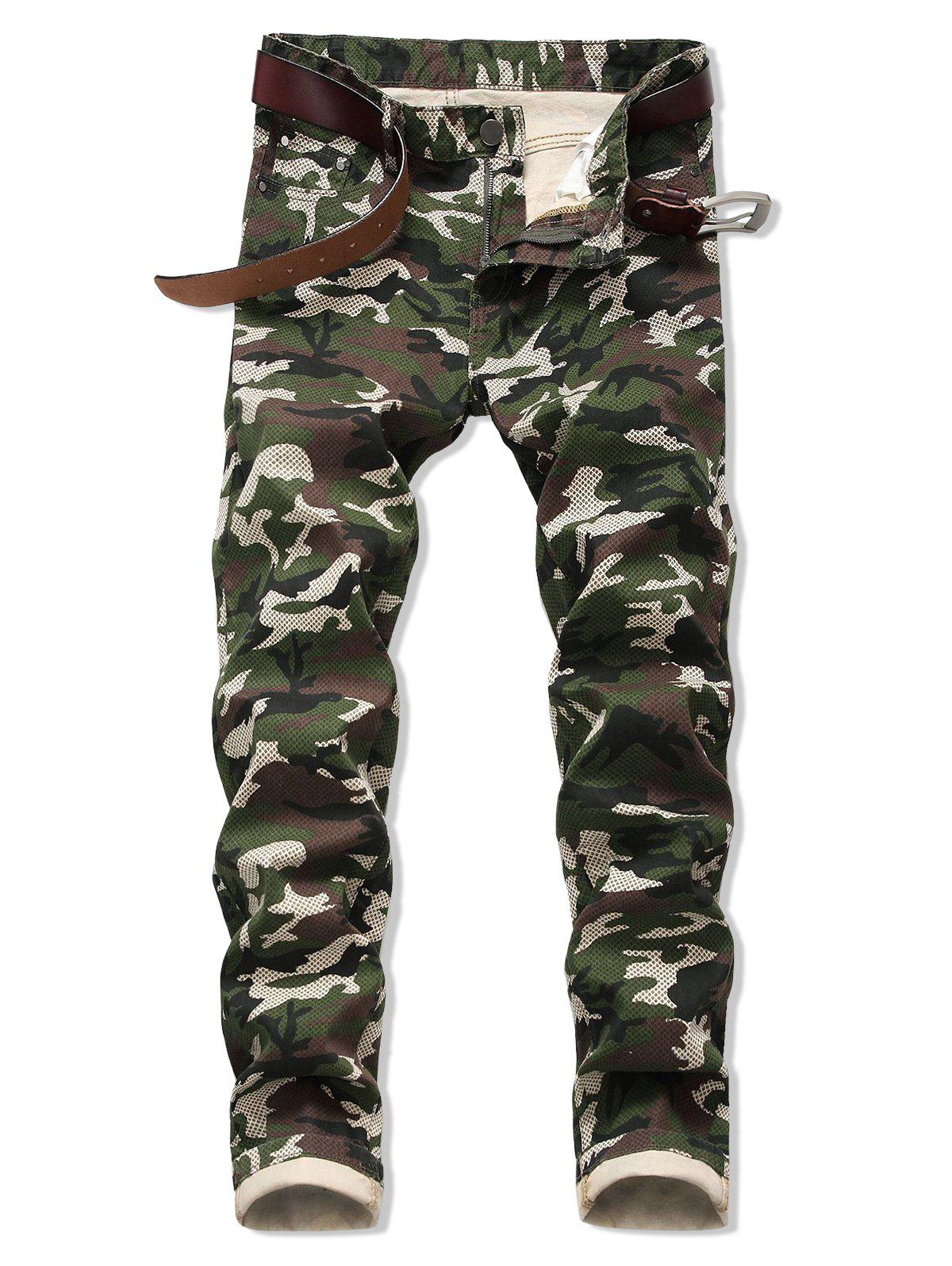 Camo Pattern Zipper Fly Casual Jeans - ARMY GREEN 42