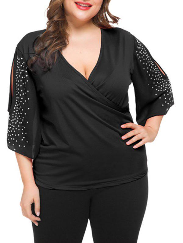 Plus Size Low Cut Rhinestone Split Sleeve T Shirt - BLACK 2X