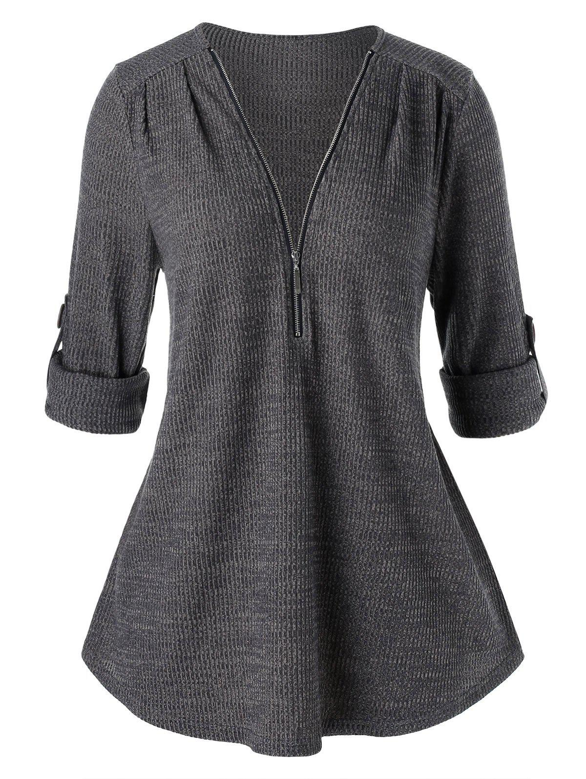 Plus Size Solid V Neck Zippered Sweater - CARBON GRAY L