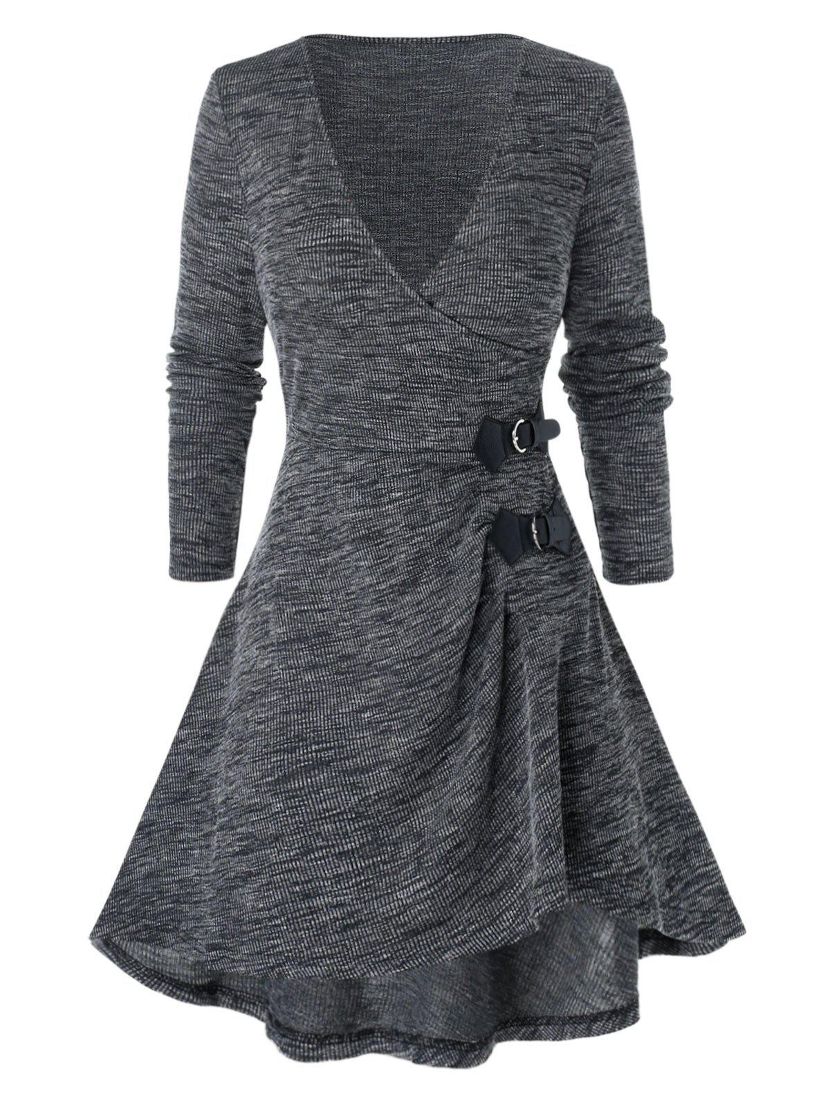 Plus Size Marled Plunging Neck High Low Sweater - CLOUDY GRAY L