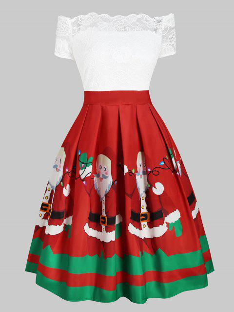 Christmas Santa Claus Off Shoulder Lace Insert Dress - RED 3XL