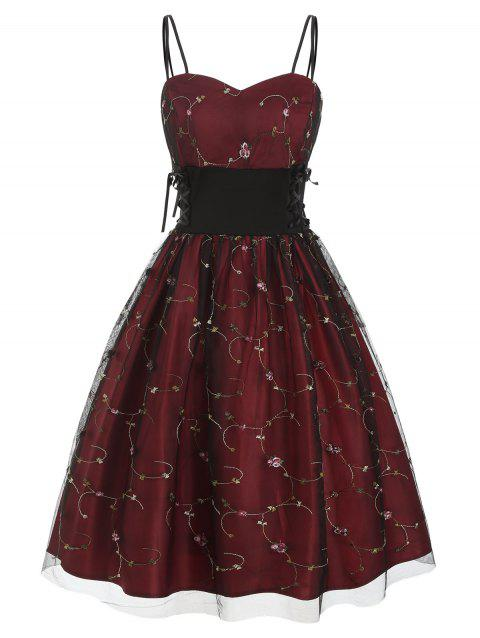 Flower Embroidered Lace Up Party Dress - RED WINE M