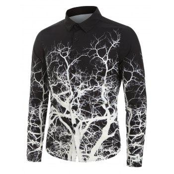 Tree Root Print Button Up Shirt