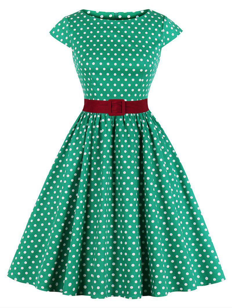 Plus Size Belted Polka Dot Cap Sleeve Dress - CLOVER GREEN 2X